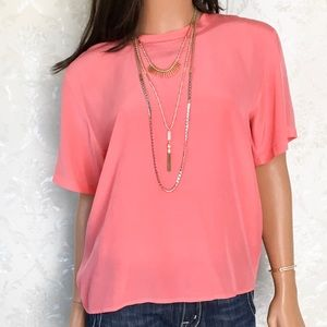 Oscar De La Renta Expressions Coral Pink Silk Top